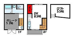 JR鹿児島本線 福工大前駅 徒歩7分の賃貸アパート 2階1DKの間取り