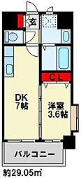 ERIOS COURT 香春口 8階1DKの間取り