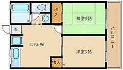 ドミール瓢箪山[2階]の間取り