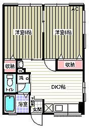 神奈川県横須賀市小原台の賃貸アパートの間取り