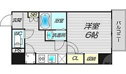 レジュールアッシュ梅田AXIA 9階1Kの間取り