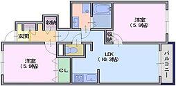 サンリット雅2[1階]の間取り