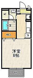 京都府京都市伏見区竹田藁屋町の賃貸アパートの間取り