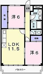 兵庫県姫路市飾西の賃貸マンションの間取り