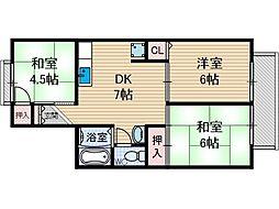 ドミールゆり[2階]の間取り