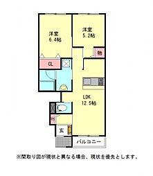愛知県一宮市木曽川町門間字島海戸の賃貸アパートの間取り