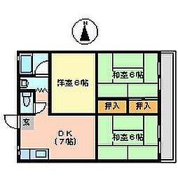 愛知県岩倉市大地町土橋の賃貸マンションの間取り