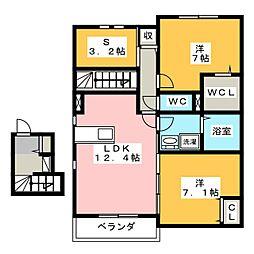 ラシーネ東出[2階]の間取り