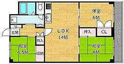 大阪府枚方市西牧野4丁目の賃貸マンションの間取り
