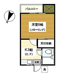 神奈川県横浜市保土ケ谷区仏向町の賃貸アパートの間取り
