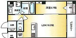 Osaka Metro千日前線 北巽駅 徒歩15分の賃貸マンション 4階1LDKの間取り