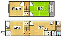 [テラスハウス] 大阪府枚方市東船橋1丁目 の賃貸【/】の間取り