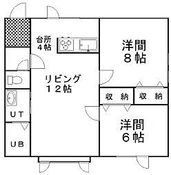 メゾンTR-B(堀川) 2階2LDKの間取り