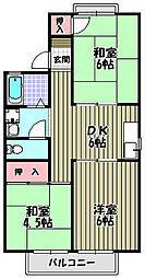 大阪府富田林市寺池台2丁目の賃貸アパートの間取り