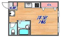 サンライズ六甲道[202号室]の間取り