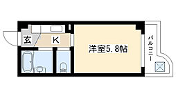 愛知県名古屋市瑞穂区津賀田町2丁目の賃貸マンションの間取り
