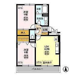 千葉県袖ケ浦市蔵波台1丁目の賃貸アパートの間取り