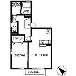 カーサ・ビアンカ[2階]の間取り