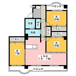 ガゾンドコリーヌ63[3階]の間取り