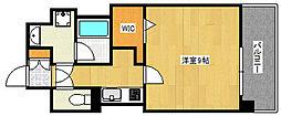Cherir六甲道 2階1Kの間取り