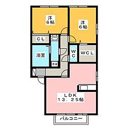 アンベリールA[2階]の間取り