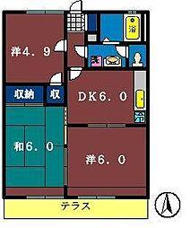 グレース田喜野井3番館[103号室]の間取り