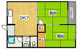 男山ハイツA・B[2階]の間取り