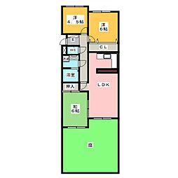 サンマンション東山元町B棟102[1階]の間取り