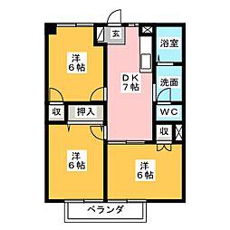 静岡県静岡市清水区由比の賃貸マンションの間取り