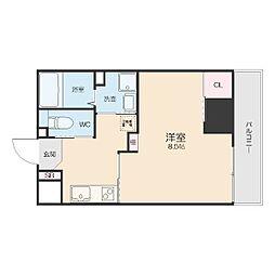 名鉄名古屋本線 山王駅 徒歩7分の賃貸アパート 8階1Kの間取り
