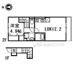 叡山電鉄叡山本線 元田中駅 徒歩12分の賃貸アパート 2階1LDKの間取り