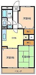 埼玉県越谷市大字大泊の賃貸アパートの間取り