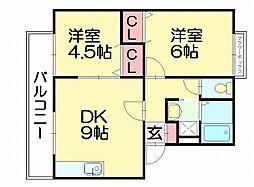 フローラルガーデン[1階]の間取り