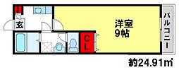 クレフラスト朱雀II[1階]の間取り
