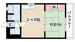 愛知県名古屋市熱田区夜寒町の賃貸アパートの間取り