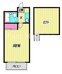 東京都杉並区阿佐谷南3丁目の賃貸アパートの間取り