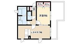 愛知県名古屋市守山区泉が丘の賃貸アパートの間取り