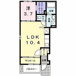 JR山陽本線 新井口駅 徒歩18分の賃貸アパート 1階1LDKの間取り