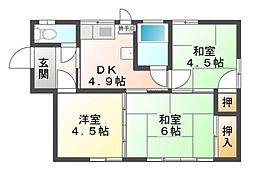 [一戸建] 岡山県岡山市北区下中野 の賃貸【/】の間取り