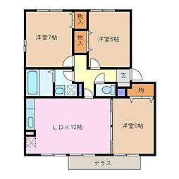 三重県四日市市浮橋2丁目の賃貸アパートの間取り