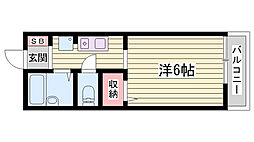 神鉄粟生線 広野ゴルフ場前駅 徒歩32分の賃貸アパート 2階ワンルームの間取り