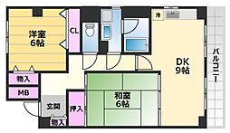 ラヴェール東洋 2階2DKの間取り