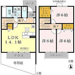[テラスハウス] 兵庫県尼崎市武庫之荘8丁目 の賃貸【/】の間取り