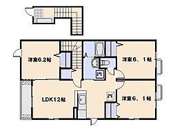 広島県広島市佐伯区利松2丁目の賃貸アパートの間取り