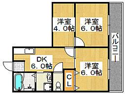 山階ハイツ[1階]の間取り