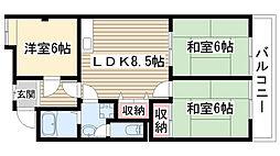愛知県名古屋市名東区一社4の賃貸マンションの間取り
