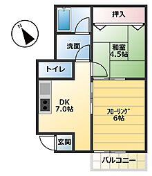 昭和コーポ若松町I[1階]の間取り
