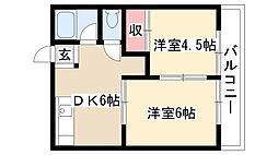 愛知県名古屋市天白区元八事3丁目の賃貸アパートの間取り