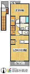 ランコント・リヤンA[2階]の間取り