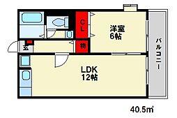アーバンフラット山田[2階]の間取り